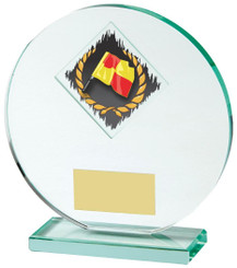 "Jade Glass Football award with Corner Flag and Ball Image - 15cm (6"") - TW18-028-345ZAP"