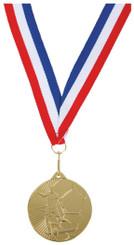 45mm Gold Football Medal on Ribbon - TW18-035-754B