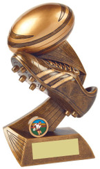 """Rugby Boot/Ball Resin Award - TW18-059-RS821 - 25cm (10"""")"""