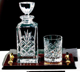 Crystal Spirit Decanter with Tumbler on Wood Tray - TW18-220-KL427