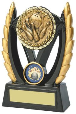 "Black & Gold Ten Pin Bowling Resin Award - TW18-093-828CP - 11cm (4 1/2"")"