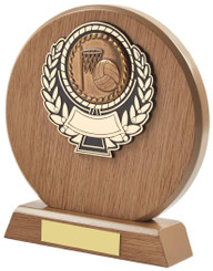 "Light Wood Circle Multi Sport Award - TW18-099-619CP - 14cm (5 1/2"")"