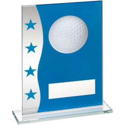 Blue/Silver Printed Glass Plaque With Golf Ball Image Trophy - 8In