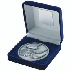 Blue Velvet Box And 70Mm Medallion Golf Trophy - Antique Silver 4In