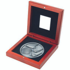Rosewood Box And 70Mm Medallion Golf Trophy - Antique Silver 4.5In