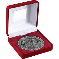 RED VELVET BOX AND 70mm MEDALLION DARTS TROPHY - ANTIQUE SILVER 4in