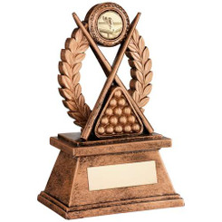 BRZ/GOLD 'POOL/SNOOKER' OVAL WREATH TROPHY - (1in CENTRE) 7in