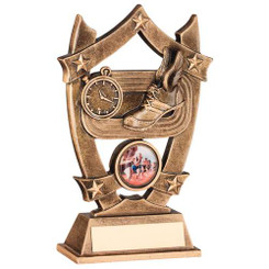 BRZ/GOLD ATHLETICS 5 STAR SHIELD TROPHY - (1in CENTRE) 6.25in