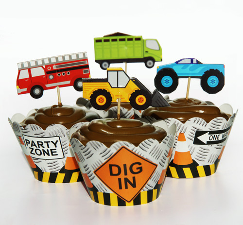 24 Truck Cupcake Toppers and Wrappers