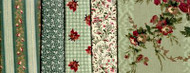 "Blue Hill Fabrics ""Yorktown Collection Circa 1850"" Green Fat Quarter Bundle"