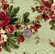 "Blue Hill Fabrics ""The Yorktown Collection Circa 1850"" Green Floral"