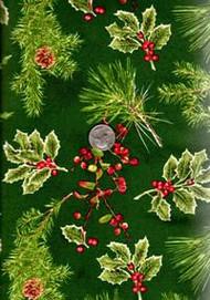 David Textiles Holly Berries Green