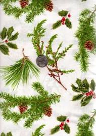 "David Textiles ""Four Seasons-Pinecone Berries"" Greenery on White"