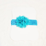 Aqua Spotted Crochet Headband