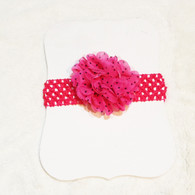 Hot Pink Spotted Crochet Headband