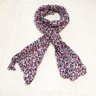 Spotted Pink Leopard Crinkle Scarf
