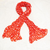Spotted Orange and White Crinkle Scarf