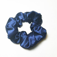 Solid Navy Satin Scrunchie
