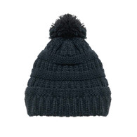 Kid's Black Pom Knit Hat