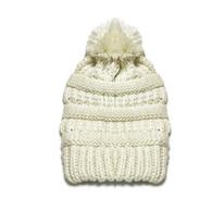 Kid's Cream Pom Knit Hat