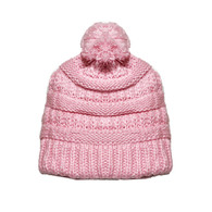 Kid's Pastel Pink Pom Knit Hat