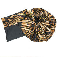 Tiger Stripes Reversible Satin Bonnet and Pillowcase Set