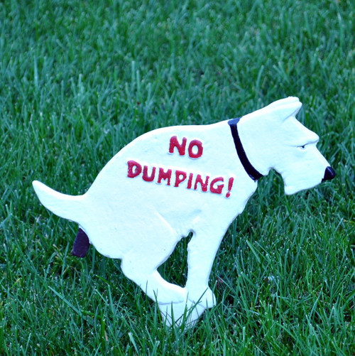No Dumping Doggie -cast iron lawn stake