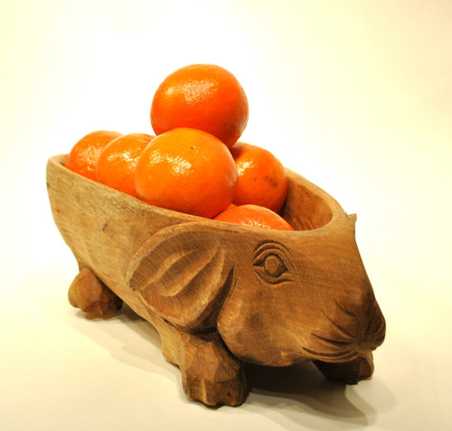 Wood Rabbit Serving Bowl Handcarved