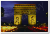 Arc de Triomphe Paris France - Time Lapse Night Scene