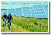 Children Riding Bikes Past Solar Energy Panels - Ecology Motivational PosterEnvy Poster