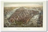 1873 - Birds Eye View of New York