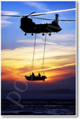 A Chinook Helicopter and a Royal Marine Rigid-Inflatable Boat (RIB) off Studland Bay Dorset UK - NEW Military Aircraft Poster