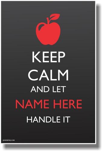 CUSTOM Keep Calm - Teacher Apple - NEW Customizable Poster