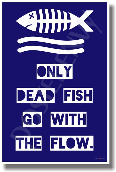 Only dead fish go with the flow new humor poster for Only dead fish go with the flow