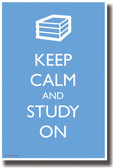 Keep Calm and Study On - NEW Humor Poster