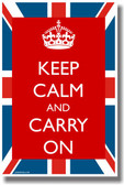 Keep Calm and Carry On British Flag NEW Humor Poster