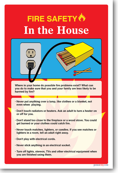New safety cautionary poster fire safety in the house for Safety around the house