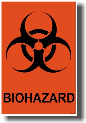 Biohazard Symbol Orange Background Posterenvy