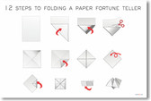 12 Steps to Folding a Paper Fortune Teller - NEW Fine Arts Poster