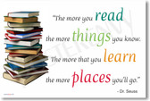 The More You Read The More Things You Know The More That You Learn The More Places You Will Go - Dr Seuss - NEW Books Reading Classroom Motivational Poster