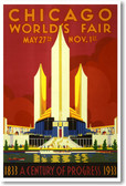 Chicago Worlds Fair - NEW Vintage Reprint Poster