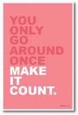 You Only Go Around Once, Make It Count - NEW Classroom Motivational Poster