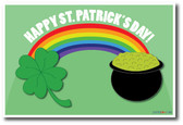 Happy St. Patrick's Day rainbow connecting green four leaf clover shamrock to leprechaun pot of gold holiday poster
