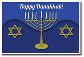Happy Hanukkah - Star of David Menorah Festival of Lights Classroom Holiday PosterEnvy Poster