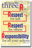 Follow the 3 R's - Respect for Self, Respect for Self, Responsibility for All Your Actions - Dalai Lama