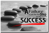 Stepping Stones - A Failure is Just the First Step on the Road to Success - Motivational Classroom PosterEnvy Poster