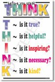 Classroom Think Before You Speak Motivational Inspirational Poster