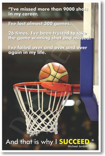 Michael Jordan - That's Why I Succeed - Famous Sports Basketball Player Quote Motivational PosterEnvy Poster