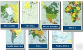 Educational - 7 Poster Set - Maps of the Continents - Classroom Geography Poster Print Gift