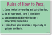 Rules of How To Pass - NEW Classroom Motivational PosterEnvy Poster